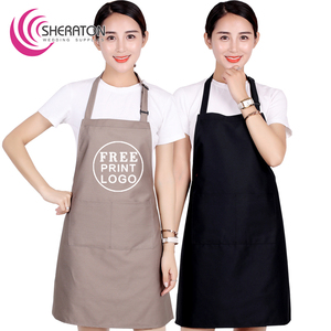 Wholesale Cotton free printing logo plain black aprons with pocket / cooking kitchen apron facrory price OEM