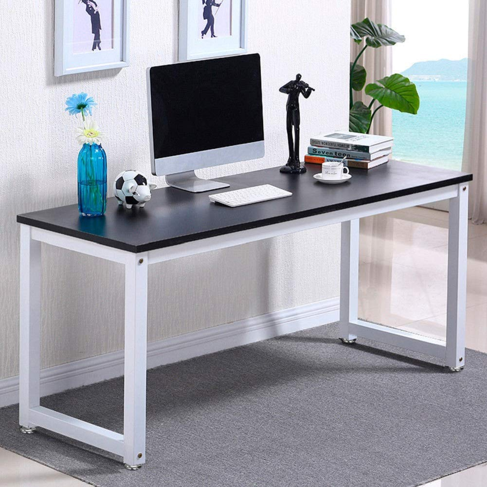GJH One Computer Desk Table Workstation Office Study PC Laptop Wood Home Furniture Black 47''