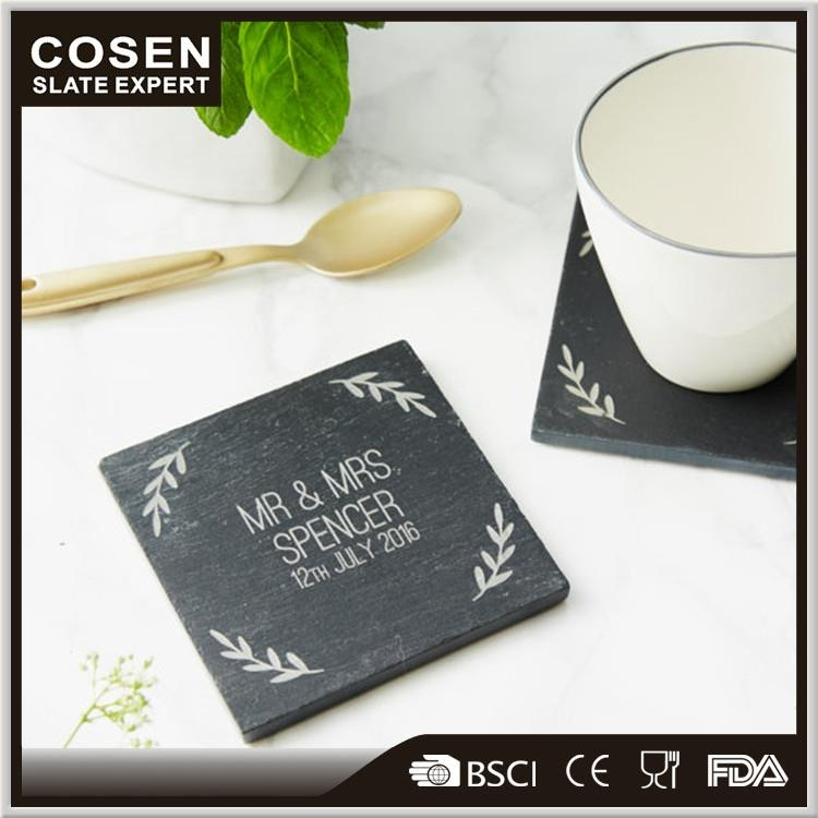 White marble stone wholesale slate cup coaster with cork set