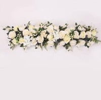 Wholesale hanging silk wedding head table Flowers Arrangement flower rows Floral table Runner flower