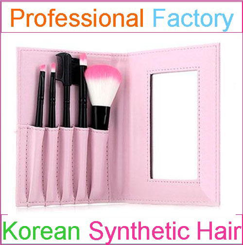5pcs Pink Mini Travel Size Makeup Brush Set Gift with a Mirror Makeup bag