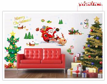 767 Cartoon Christmas Wall Stickers For Kids Christmas Glass Window