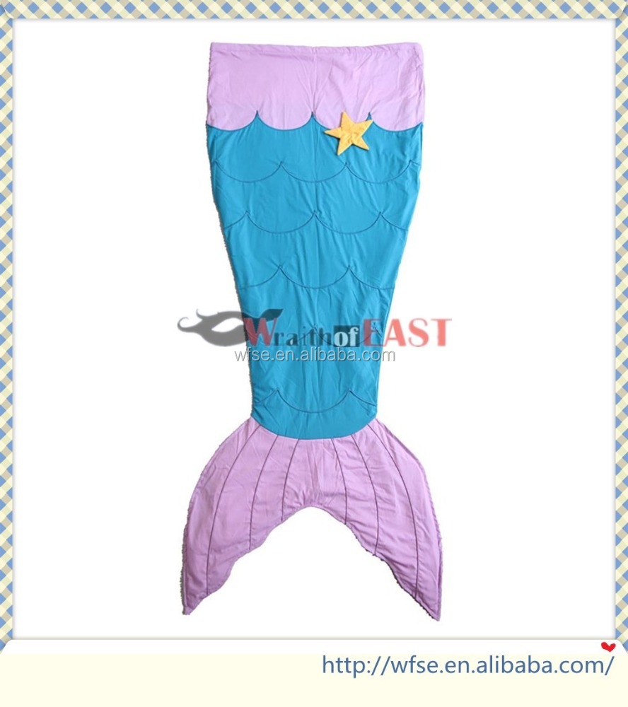 Sky Blue and Pink Plush Sofa Kids Mermaid Tail Blanket Fancy Tail Sleeping Bag
