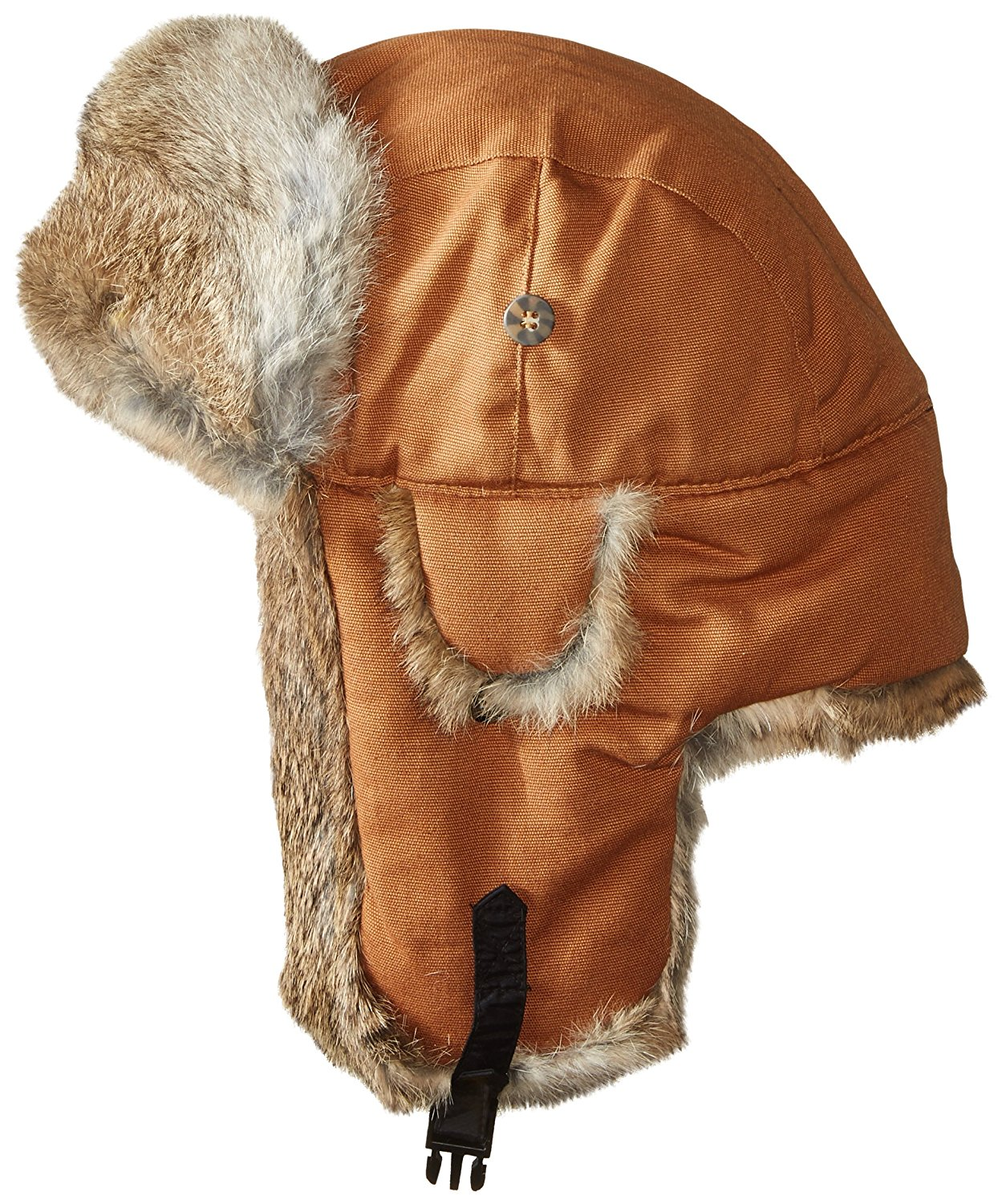8f2c3dd1956b01 Get Quotations · Mad Bomber Canvas Bomber Hat with Real Rabbit Fur, Rust,  Large