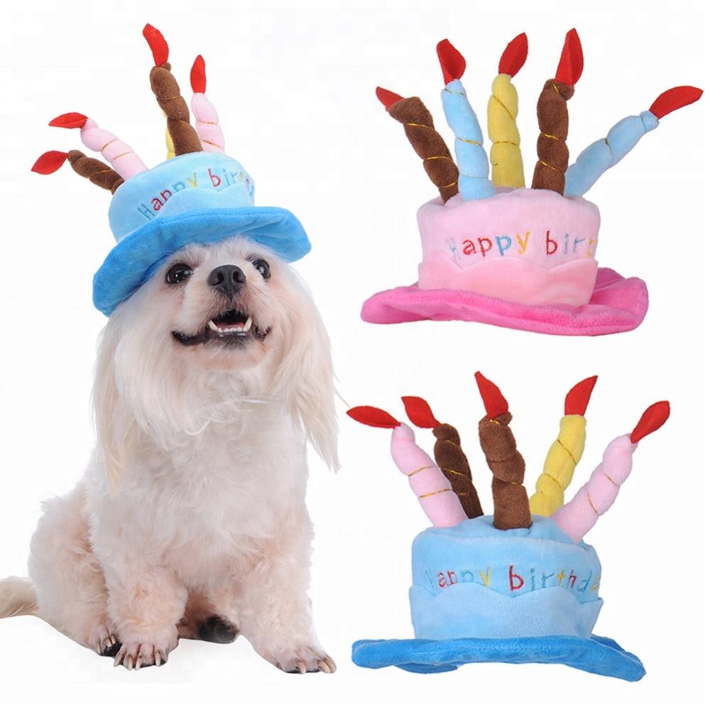 Pet Costume Cap With Candle Velvet Hat Happy Birthday Cake Adult Hats