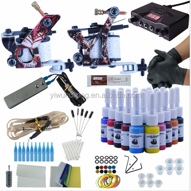 Professional Complete Tattoo Kit Set Tattoo Machine Double Dual Power Supply 2 Guns Immortal Color Inks Optional Tattoo Supplie