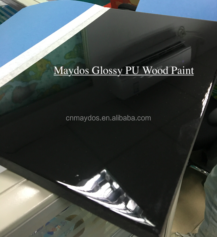 Black Solid Color Glossy PU Paint for Wood Coating Lacquer