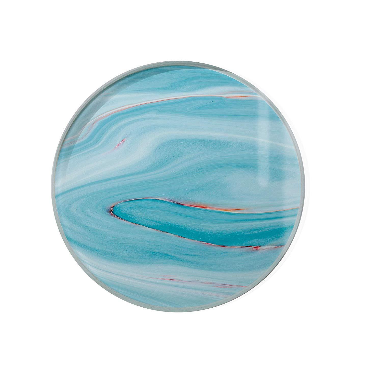 Blue Opal Glass Coaster For Drinks Housewarming Gift Coaster Drink Mat Tea Rug Coaster Tempered Glass Wine Mat Hardboard Coaster ZZ8180