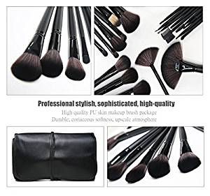 Emylike makeup Brushes Studio Quality 32 Pcs Black Rod Makeup Brush Cosmetic Set Kit withLeather Roll Pouch - For Eye Shadow, Blush, Concealer, Etc. (Black)