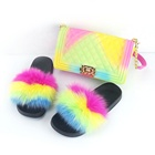 wholesale Rainbow color two piece set jelly bags handbag and fox fur slides