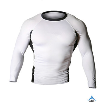 white Blank mma fitness rash guard manufacturer China, rashguard mma