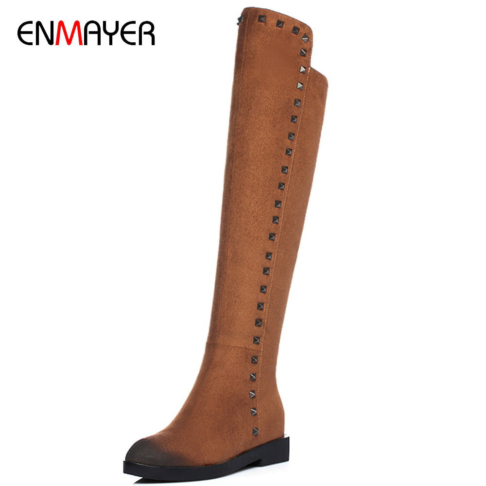 New arrival nubuck pu women increased within sexy thigh flat rivets safety boots 2016