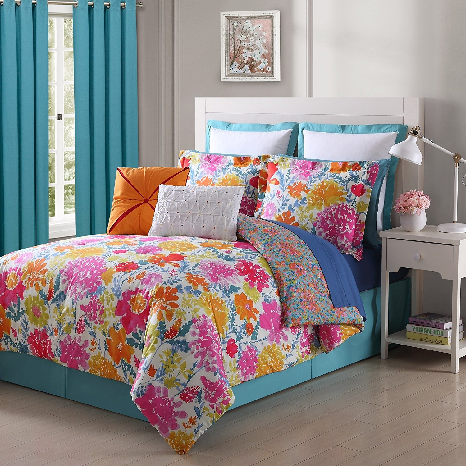 Get Quotations 4 Piece Fl Comforter Set Full Allover Adorable Garden Flower Pattern Casual Solid