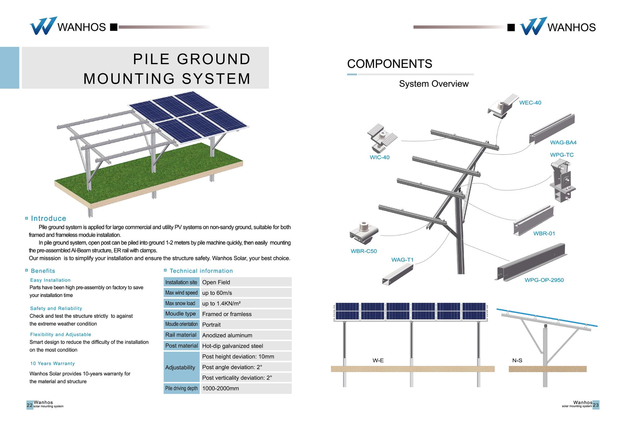 In Pile Ground Mount PV System,solar ground mounting system