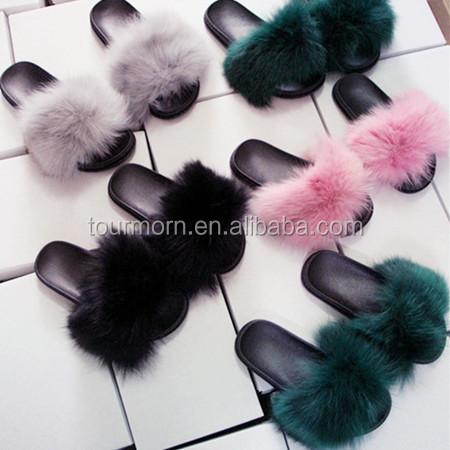 1eb8d76dbb50 Wholesale Fox Fur Slides Sandals Slippers Sliders Flat Fur Slip On - Buy  Wholesale Fox Fur Slides Sandals Slippers