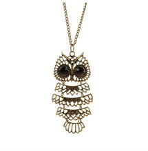 2012 fashion long chain latest anti gold owl necklace