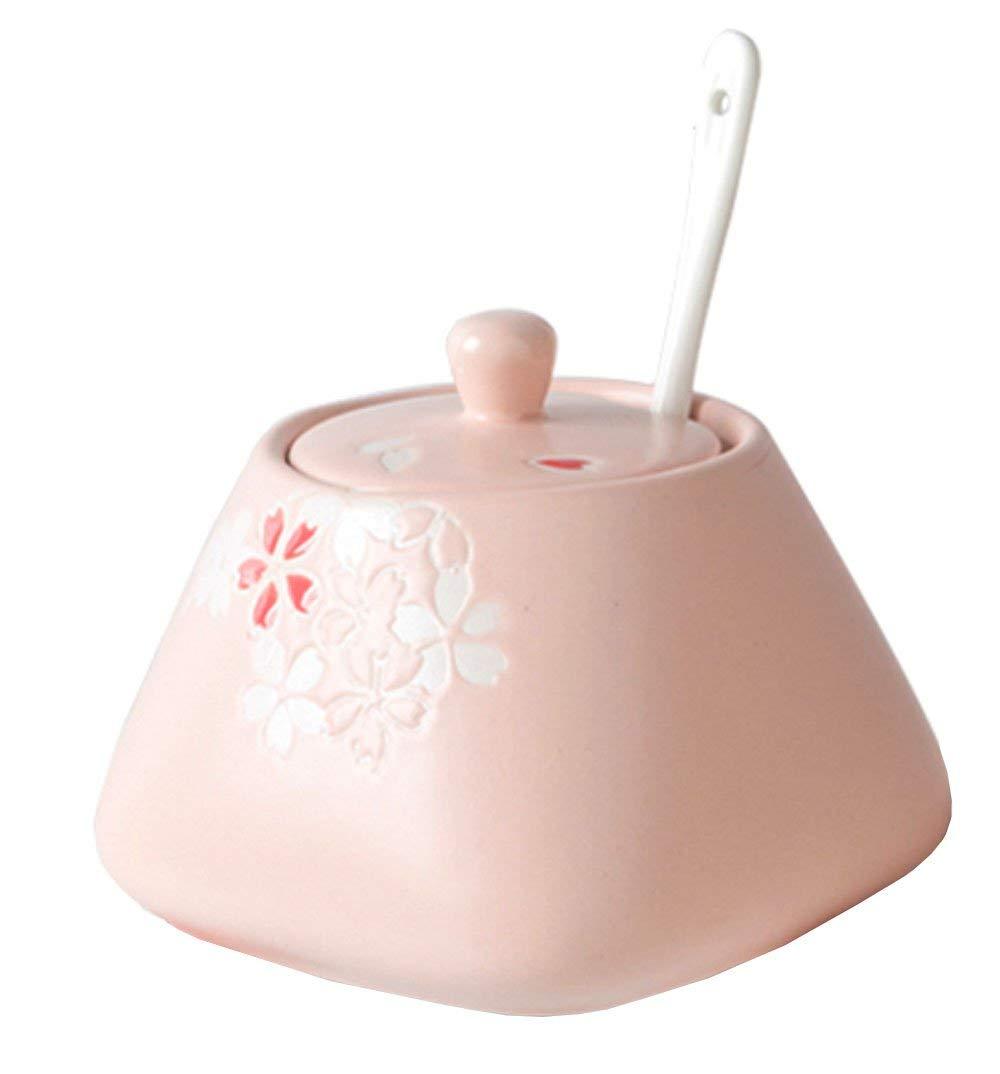 Cherry Blossom Embossed Ceramic Spice Jar with Lid Spoon, Sakura Seasoning Box Condiment Pots