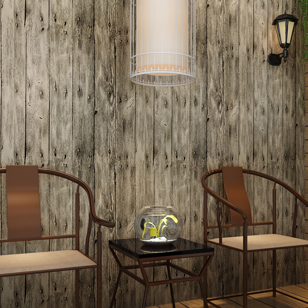 haokhome vintage faux wood panel wallpaper rolls khaki multi 3d realistic paper murals home. Black Bedroom Furniture Sets. Home Design Ideas