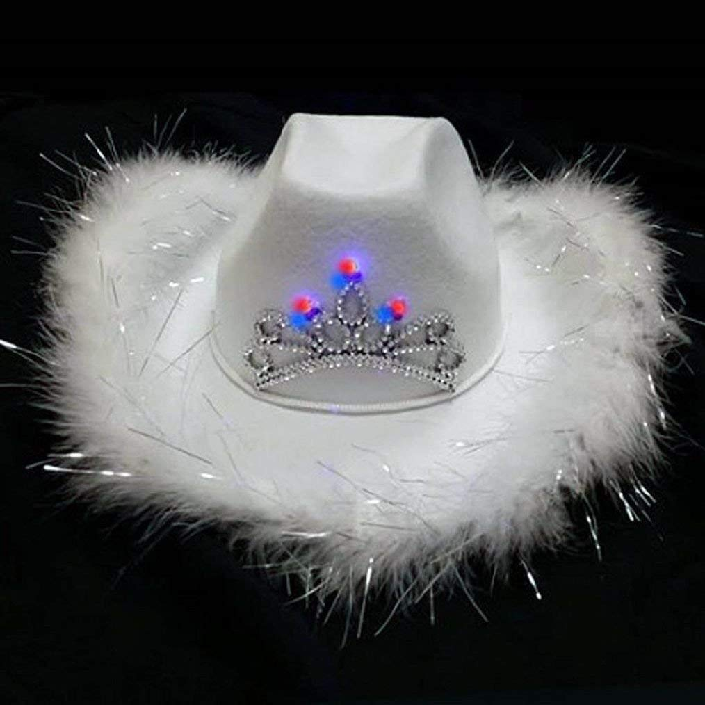 Get Quotations · White Light Up Tiara Feather Rodeo Cowboy Party Hats  Tierra Cowgirl Hat New Item 246fe4b605da
