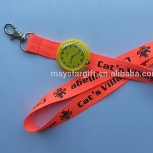 Neck polyester lanyard with watch