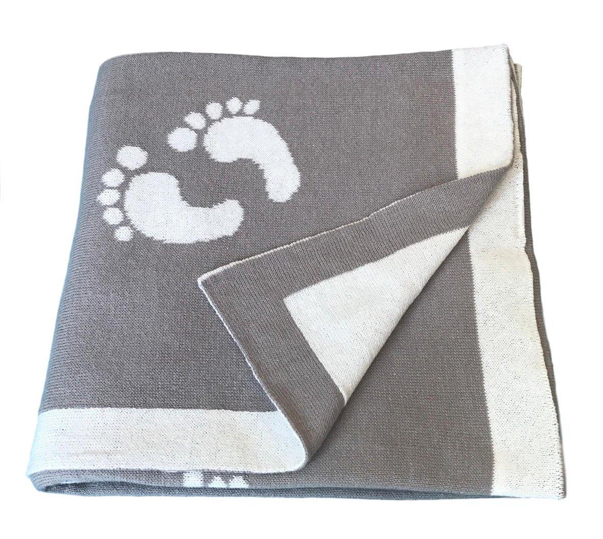 eb0b424e55c Get Quotations · Vogue 100% Cotton Knit Footprint Baby Blanket 30 x40