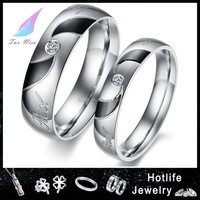 Alibaba china 2016 fashion design In stock promotional 316L pair engagement ring for valentine