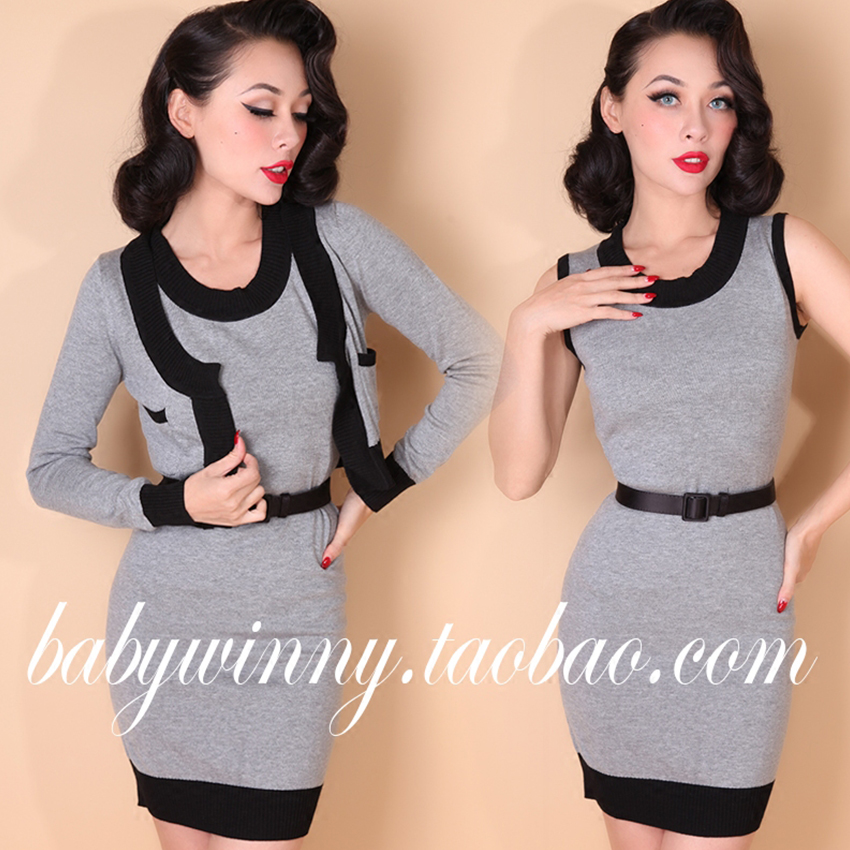 2016 New High Quality Elegant Street All Match Slim Gray Europe Knitted Tight Dress And Cardigan