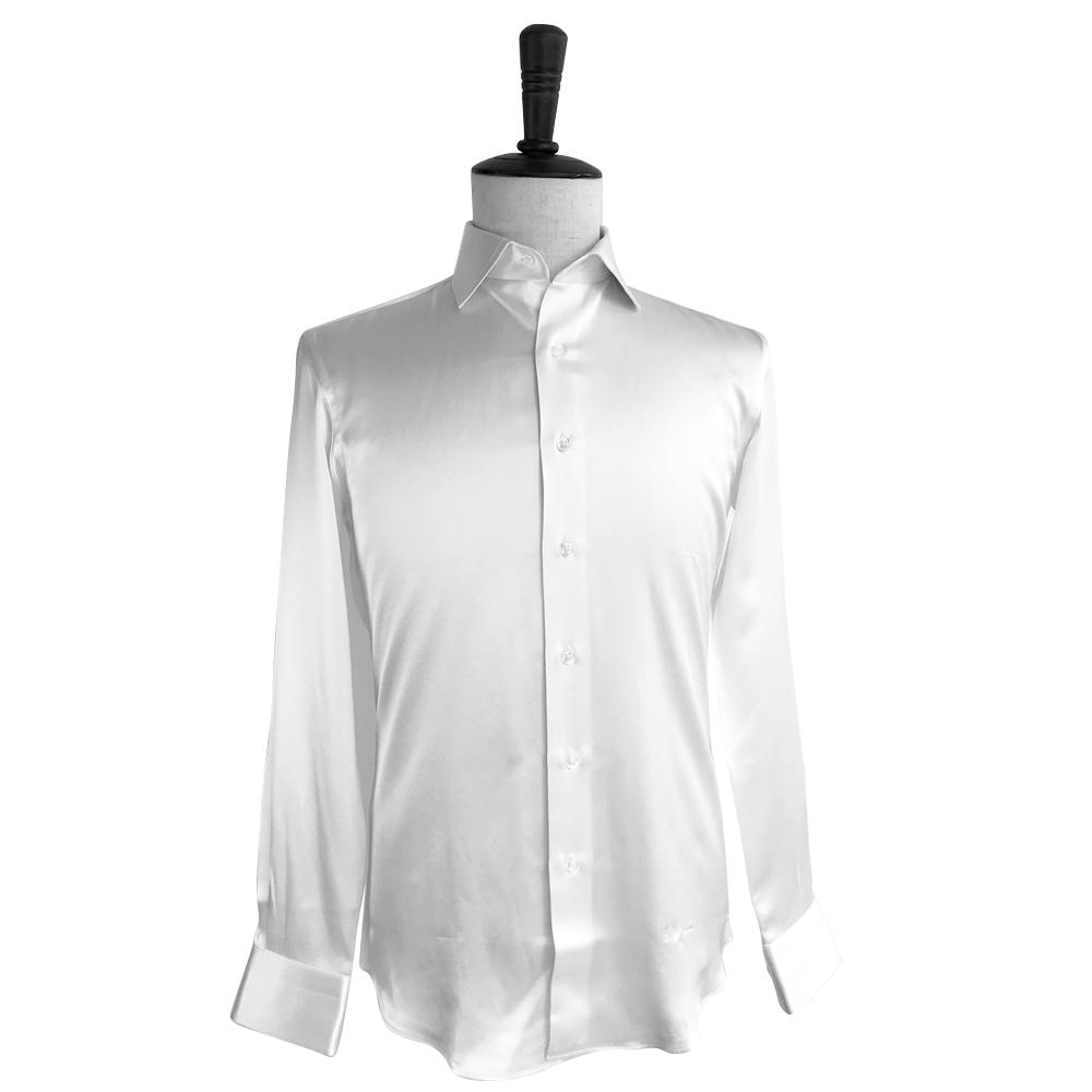 Custom Made Trắng Tinh Khiết Lụa Dài Tay Áo Mens Ăn Mặc Áo Sơ Mi Giản Dị Dài Tay Áo Nam Slim Fit Sơ Mi