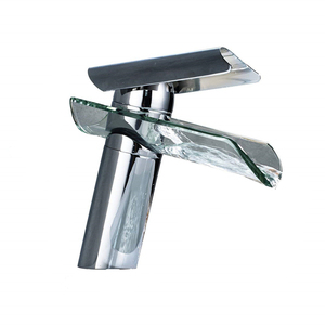 Chrome Finish Glass Waterfall Spout Bathroom Sink Faucet Mixer Tap