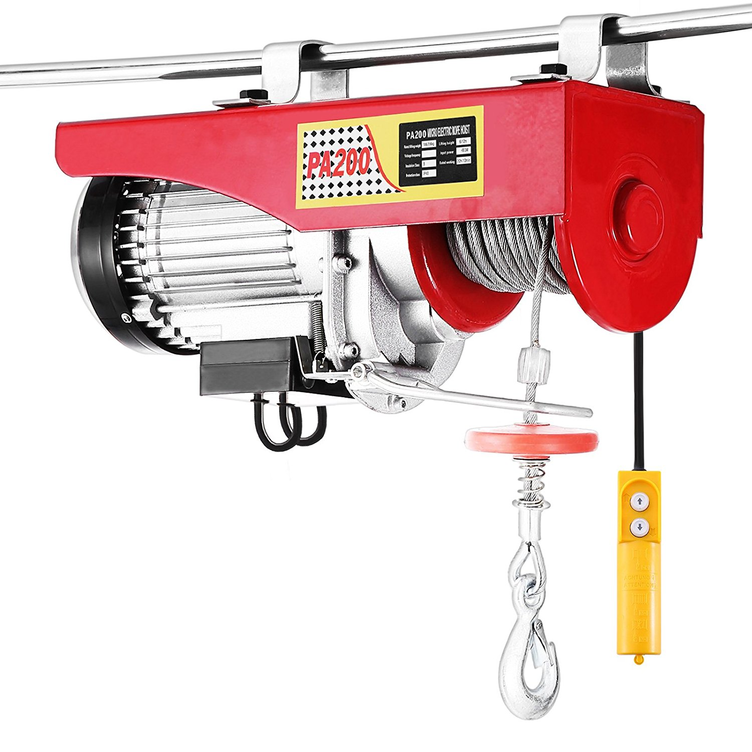 Happybuy Lift Electric Hoist 440 LBS Electric Hoist 110V Overhead Crane Lift Electric Wire Hoist Remote Control (440LBS)