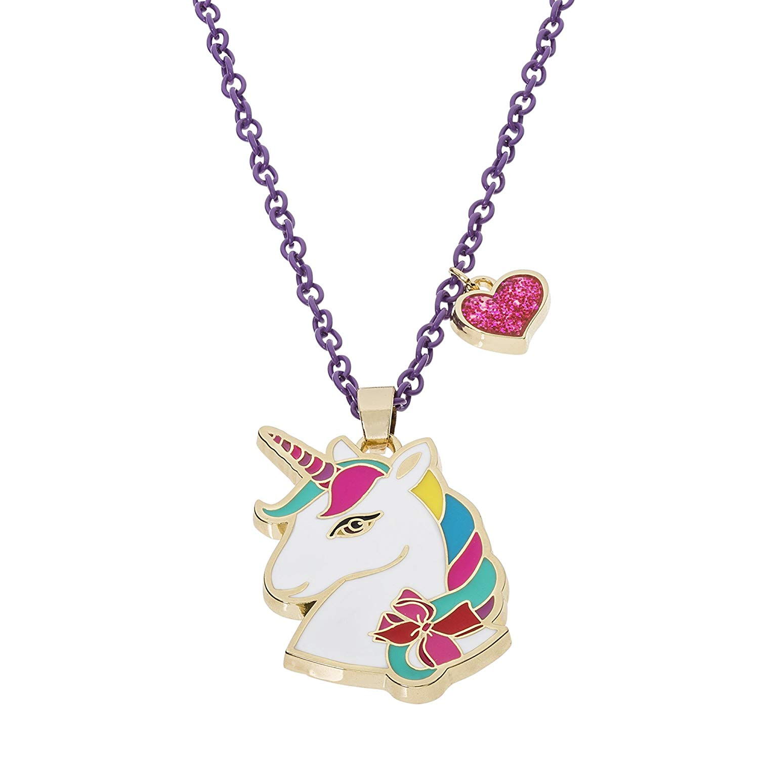 "Jojo Siwa Unicorn With Heart Charm Pendant Necklace, 16""+3"""