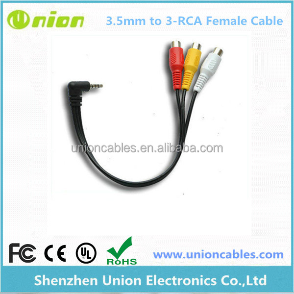 3.5MM A/V JACK TO 3-RCA AUDIO VIDEO CONNECTOR CABLE AUX ADAPTER