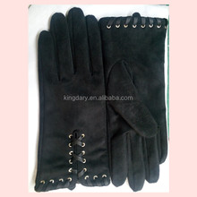 2016 Classic Black High Quality Goatsuede Ladies' Leather Gloves With Multi Colour
