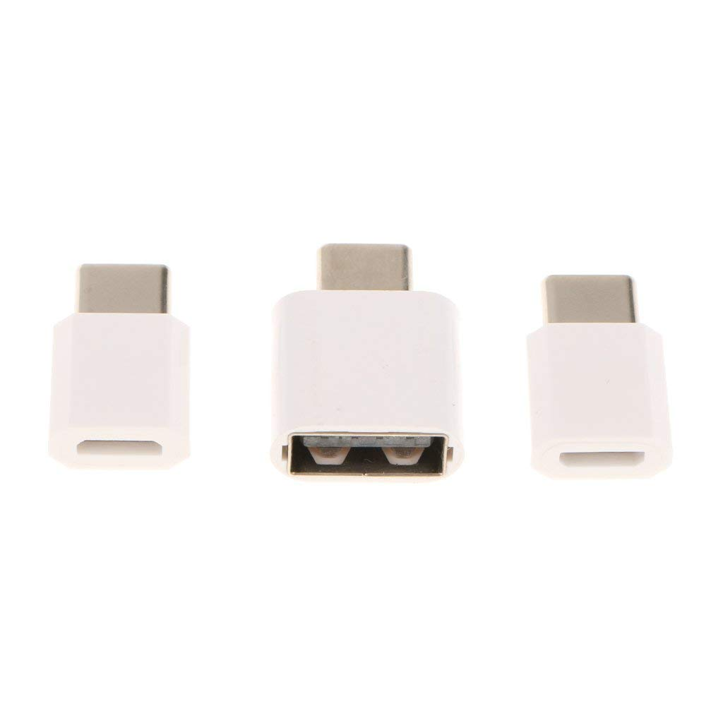 MonkeyJack 3 Pieces USB 3.1 Type C Male to OTG/Micro USB Female Data Adapter Converter Connector Plug and Play