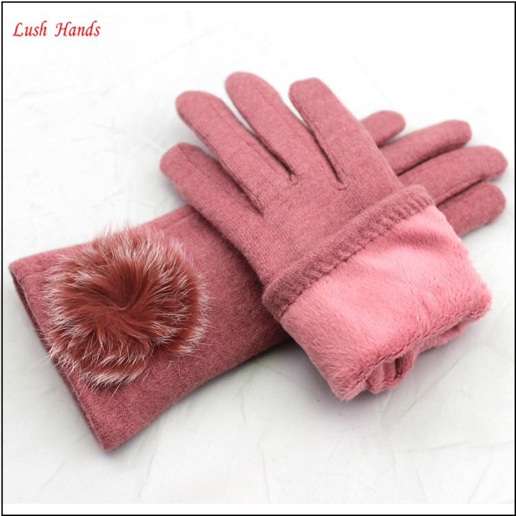 fashion women pink woolen hand gloves