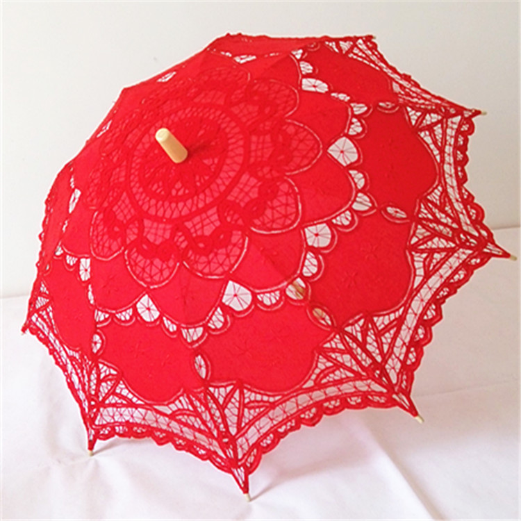 Handmade craft lace red color parasol