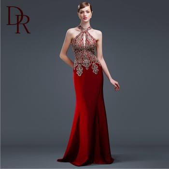 Robe De Soiree 2016 Sexy Mermaid Red Formal Dress Crepe Long Pretty