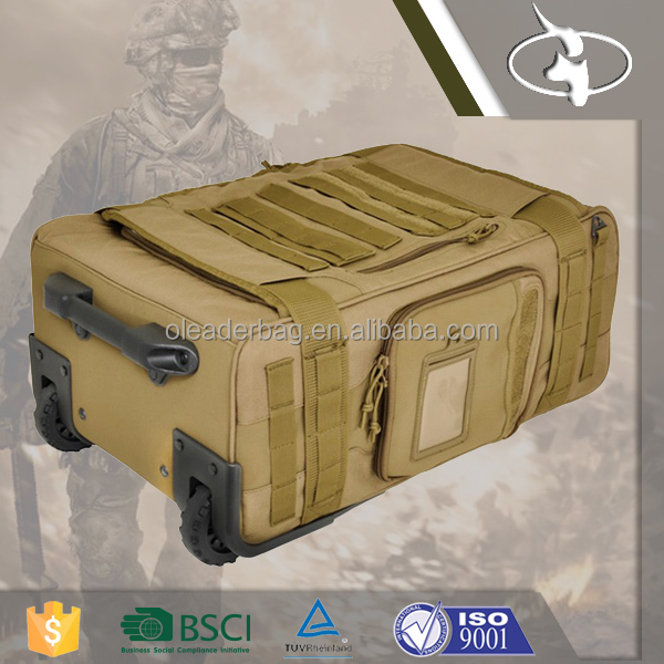 Quality Trolley Army Green Unique Travel Luggage Bag for MIlitary