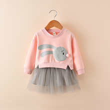 Girls Dresses Fall and Spring Sweet Princess Stitching Lace Dress Long Sleeve Dresses