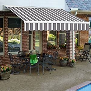 "Awntech 12' LX-Destin-Hood Left Motor/Remote Retractable Acrylic Awning, 120"", Navy/Gray/White"