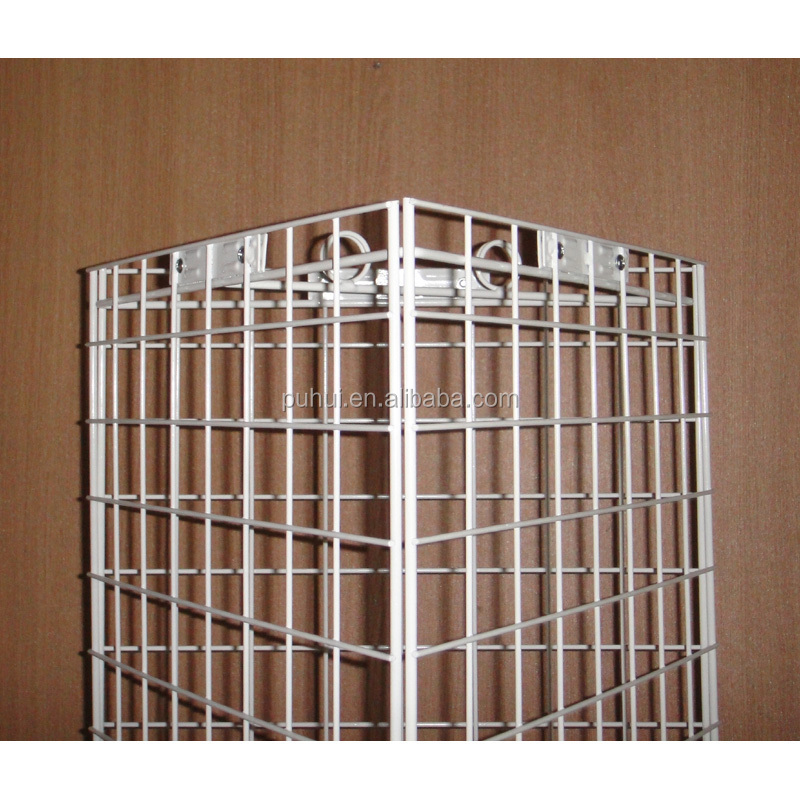 universal metal rack fixture 3 sides floor iron steel grid wire screen revolving display stand for shop promotion
