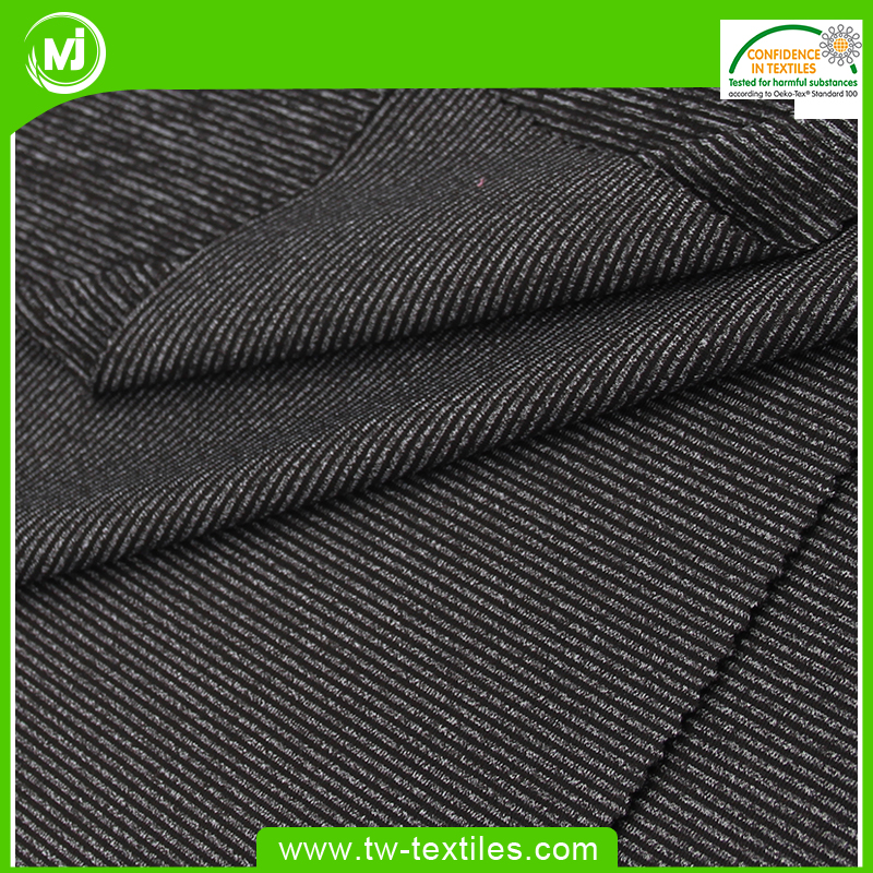 87% Polyester 13% Spandex Heather Grey Yarn Dyed Knit fabric in Cationic Stripes