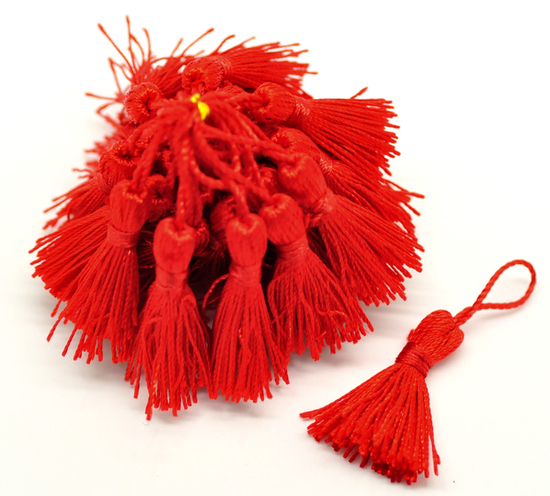 "100PCs Red Silky Tassels Craft Curtain Tassel Decoration Home Textile Accessory Jewelry DIY 4.5-5cm(1-3/4""-2"")"