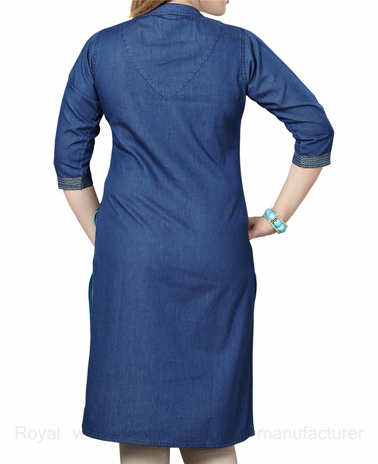 ddde0efbaf Royal wolf denim dress manufacturer blue embroidered denim kurti ladies  jeans kurta. More links about our factory you may interested in