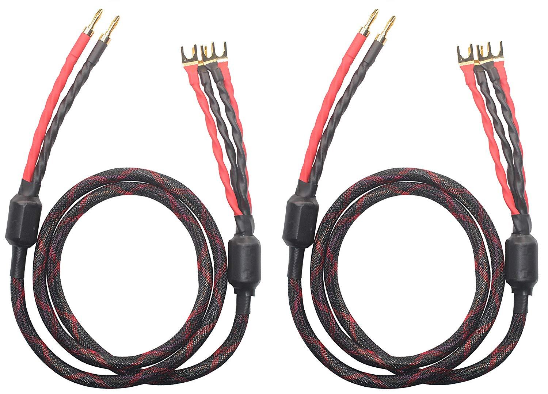 K2B-4Y Bi-Wire Speaker Cable (2 Banana plugs - 4 Spade plugs), 1pair set (Total 4 Banana plugs, 8 Spade plugs), K2B-4Y