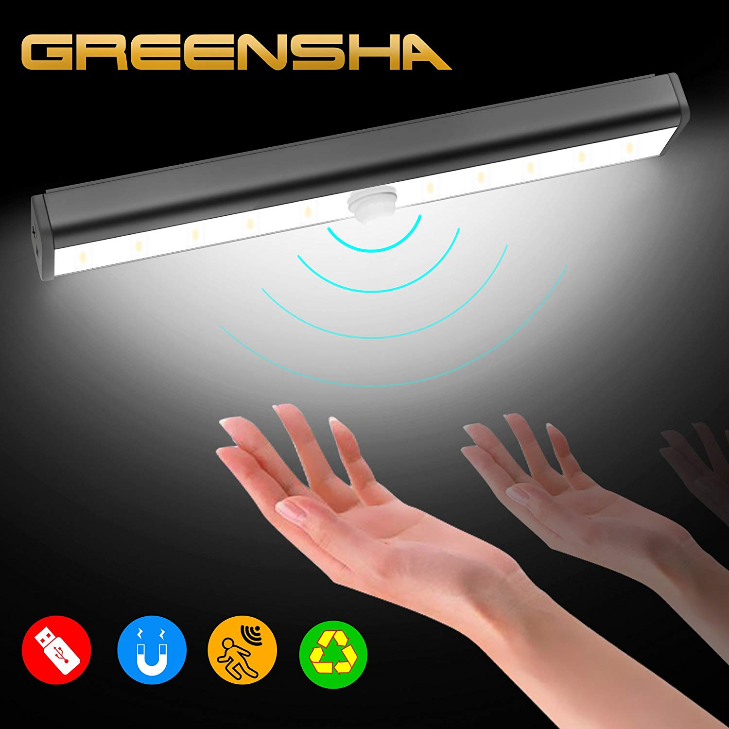 3.7W Led Under-Cabinet Light Wireless Motion Sensor USB Rechargeable Closet Night Light Stick-on Bedroom Bar Cabinet Kitchen with Magnetic Strip,Table Lamp for Home Improvement(Yellow Light)