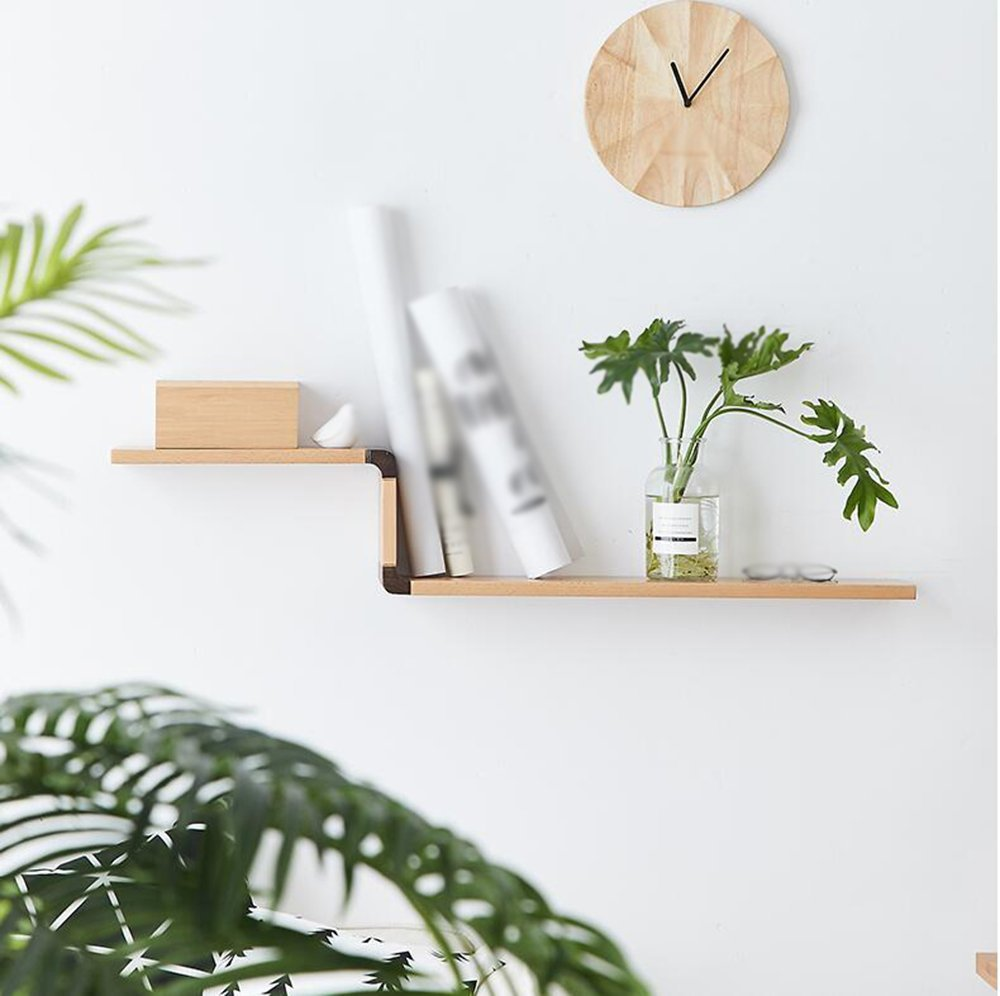 Wooden Wall-mounted shelf / wooden Wall-mounted shelf / living room Wall shelf / wall Wall-mounted shelf / Nordic minimalist furniture / double-skin wall / kitchen Wall-mounted shelf /(111152cm)