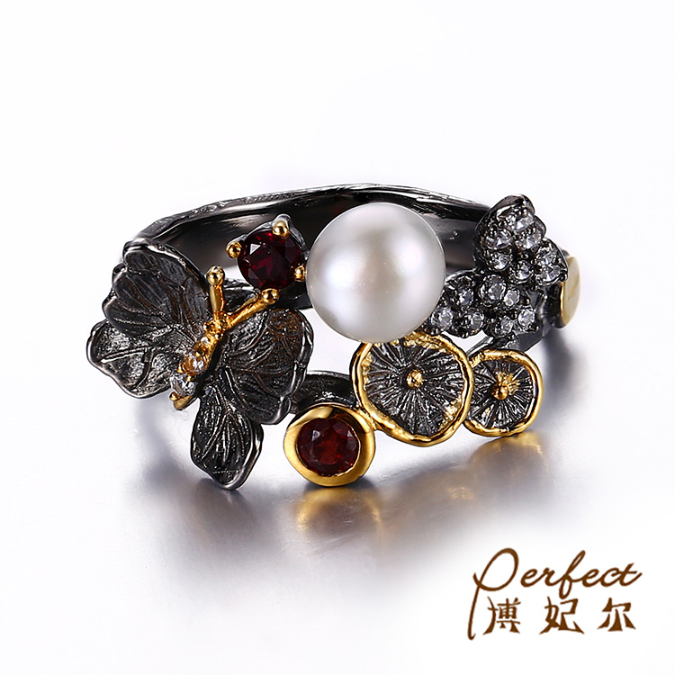 Butterfly Design Button Pearl 925 Sterling Silver Ring with Black Gold Plated