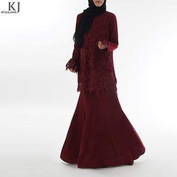 Kj Muslim Fashion Design Baju Kurung Moden Lace Baju Arab Dark Red Small Moq View Baju Kurung Moden Lace Kyle And Jane Abaya Product Details From Xianyang Baite Garment Co Ltd On