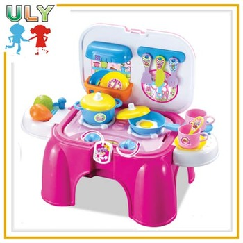 Multifunctional chair kids kitchen set toy outdoor cooking set toys ...